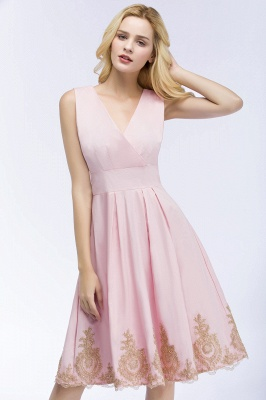 ROSEANNE | A-line V-neck Knee Length Sleeveless Appliques Homecoming Dresses_6