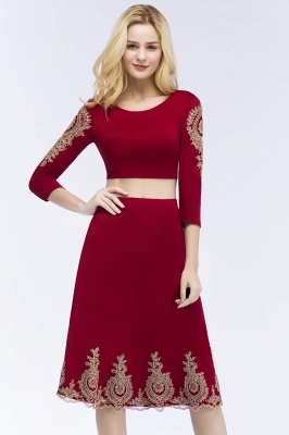 ROSAMOND | A-line Two-piece Long Sleeves Tea Length Appliques Homecoming Dresses_8