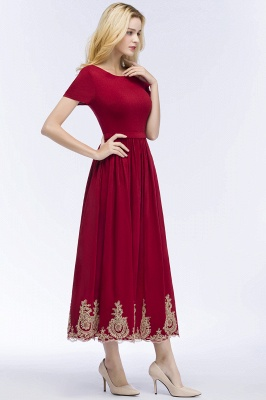ROSEANNA | A-line Short Sleeves Ankle Length Appliques Prom Dresses with Sash_4