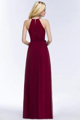 ROSALIND | A-line Halter Floor Length Burgundy Bridesmaid Dresses with Bow Sash_9