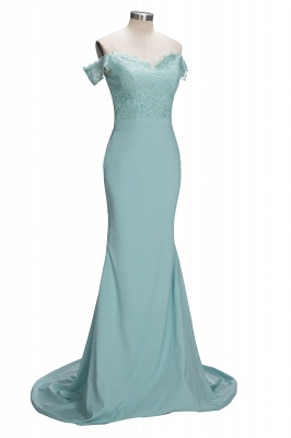 Lace Mint Off-the-Shoulder Long Mermaid Bridesmaid Dress_1