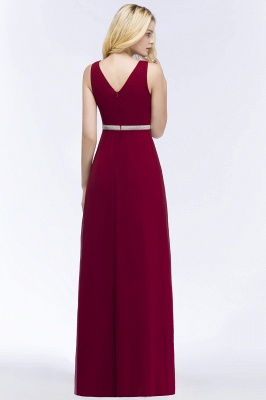 ROSALINE | A-line Long Sleeveless V-neck Ruffled Chiffon Bridesmaid Dresses with Beading Sash_3