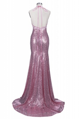 Mermaid Long Rose Pink Prom Party Dresses Sequins Spaghetti Strap Evening Gowns_6