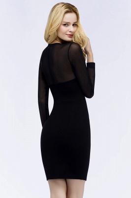 ROBERTA | Sheath Long Sleeves Sheer Neckline Plus Size Short Black  Homecoming Dresses