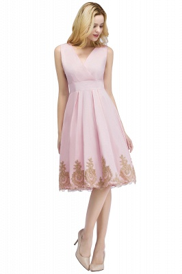 ROSEANNE | A-line V-neck Knee Length Sleeveless Appliques Homecoming Dresses_1