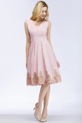 ROSEANNE | A-line V-neck Knee Length Sleeveless Appliques Homecoming Dresses_9