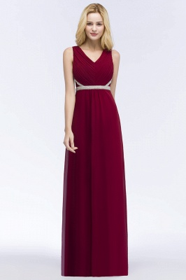 ROSALINE | A-line Long Sleeveless V-neck Ruffled Chiffon Bridesmaid Dresses with Beading Sash_1