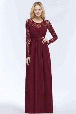 ROSALIE | A-line Floor Length Long Sleeves Lace Chiffon Bridesmaid Dresses_6