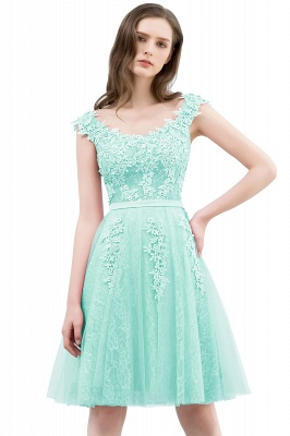 Pink A-Line Homecoming Dresses   Lace Tulle Mini Prom Dresses_7