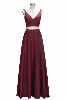 Two-Piece Straps Elegant A-line Burgundy Sleeveless Prom Dress SP0316_1