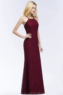 PATTI | Mermaid Floor Length Halter Lace Burgundy Bridesmaid Dresses_6