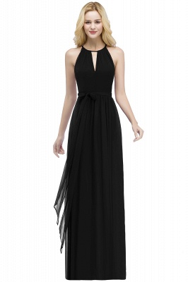 ROSALIND | A-line Halter Floor Length Burgundy Bridesmaid Dresses with Bow Sash_6