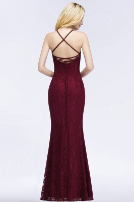 PATTI | Mermaid Floor Length Halter Lace Burgundy Bridesmaid Dresses_3