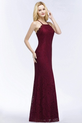 PATTI | Mermaid Floor Length Halter Lace Burgundy Bridesmaid Dresses_4