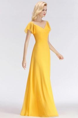 NINA | A-line Long V-neck Short Sleeves Chiffon Bridesmaid Dresses_4