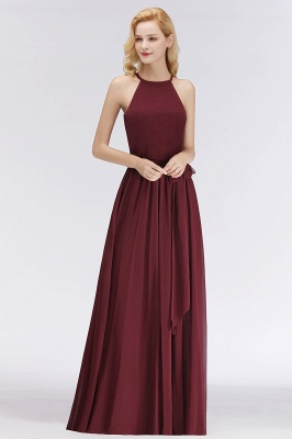 NICOLE | A-line Halter Sleeveless Long Burgundy Ruffles Chiffon Bridesmaid Dresses_8