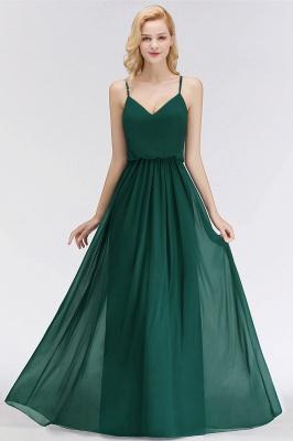 NICOLA | A-line Floor Length V-neck Spaghetti Chiffon Bridesmaid Dresses_7
