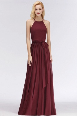 NICOLE | A-line Halter Sleeveless Long Burgundy Ruffles Chiffon Bridesmaid Dresses_5