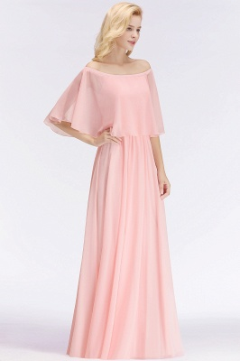 NOAH | A-line Long Off-the-shoulder Pink Bridesmaid Dresses with Sleeves_5