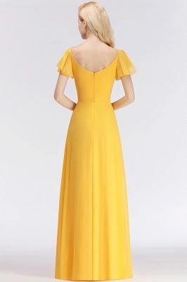 NINA | A-line Long V-neck Short Sleeves Chiffon Bridesmaid Dresses_3