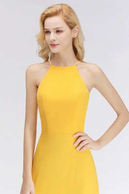 NITA | A-line Halter Sleeveless Floor Length Yellow Bridesmaid Dresses_6