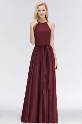 NICOLE | A-line Halter Sleeveless Long Burgundy Ruffles Chiffon Bridesmaid Dresses_1