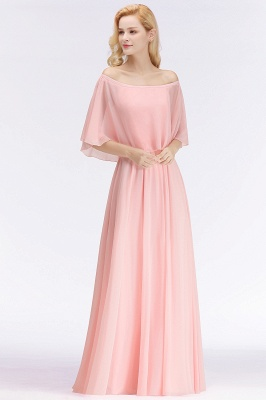 NOAH | A-line Long Off-the-shoulder Pink Bridesmaid Dresses with Sleeves_4
