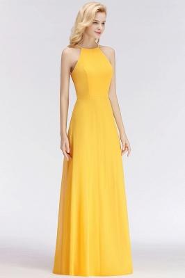 NITA | A-line Halter Sleeveless Floor Length Yellow Bridesmaid Dresses_4