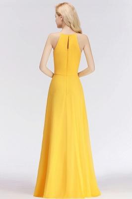 NITA | A-line Halter Sleeveless Floor Length Yellow Bridesmaid Dresses_3