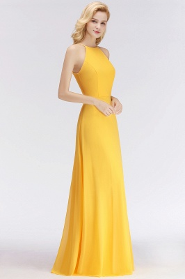 NITA | A-line Halter Sleeveless Floor Length Yellow Bridesmaid Dresses_7