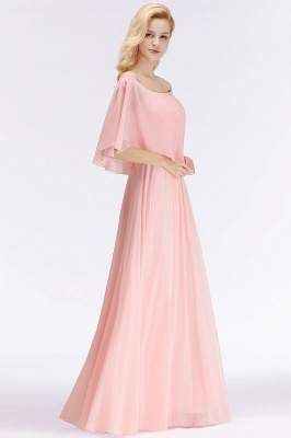 NOAH | A-line Long Off-the-shoulder Pink Bridesmaid Dresses with Sleeves_2