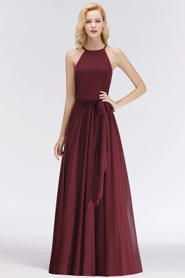 NICOLE | A-line Halter Sleeveless Long Burgundy Ruffles Chiffon Bridesmaid Dresses_4