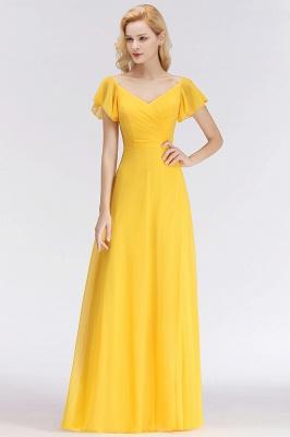 NINA | A-line Long V-neck Short Sleeves Chiffon Bridesmaid Dresses_7