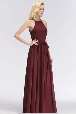 NICOLE | A-line Halter Sleeveless Long Burgundy Ruffles Chiffon Bridesmaid Dresses_6