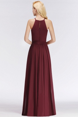 NICOLE | A-line Halter Sleeveless Long Burgundy Ruffles Chiffon Bridesmaid Dresses_3