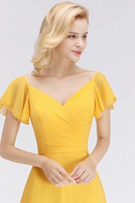 NINA | A-line Long V-neck Short Sleeves Chiffon Bridesmaid Dresses_8