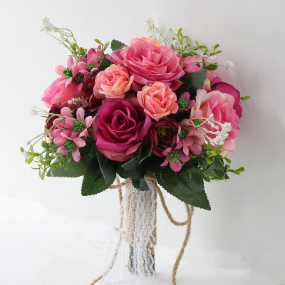 Two colors Artificial Real Touch Rose Bouquet for wedding_2