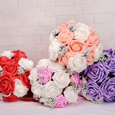 Two Colors Silk Flowers Wedding Bouquet with Ribbon_10