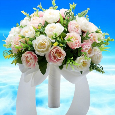 Artificial Rose Wedding Bouquet in Two Colors_2