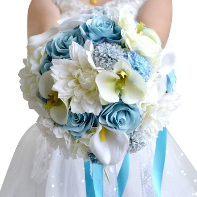 Artificial Camomile and Lily Wedding Bouquet in Blue and White