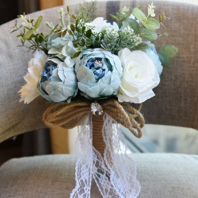 Real Touch Colorful  Artifial Roses Wedding Bouquet_7