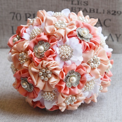 Silk Rose Pearls Wedding Bouquet in Three Tune Colors_1