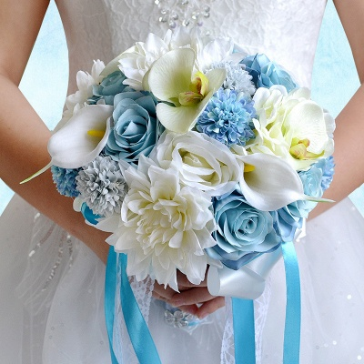 Artificial Camomile and Lily Wedding Bouquet in Blue and White_5
