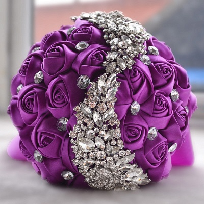 Slik Rose Beading Wedding Bouquet in Multiple Colors_5