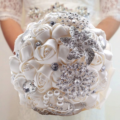 Colorful Silk Rose Crystal Beading Wedding Bouquet_7
