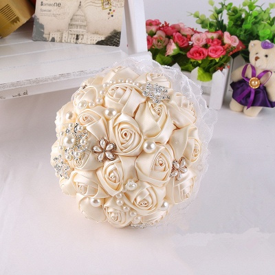 Elegant Pearls Lace Silk Rose Bouquet for Wedding_3