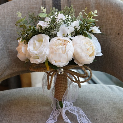 Real Touch Colorful  Artifial Roses Wedding Bouquet_2