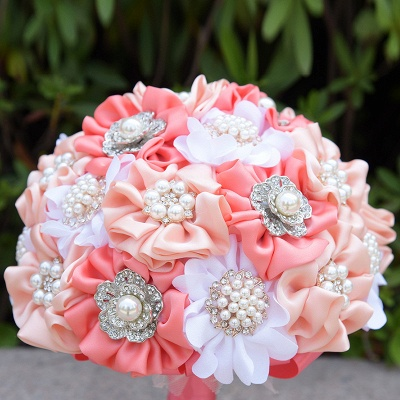 Silk Rose Pearls Wedding Bouquet in Three Tune Colors_5