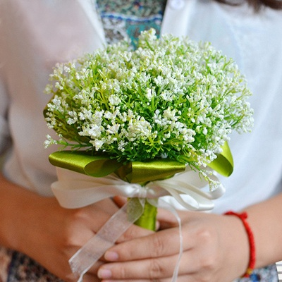 Green Babysbreath Real Touch Wedding Bouquet_1