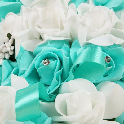 Colorful Silk Rose Wedding Bouquet with Ribbons_11